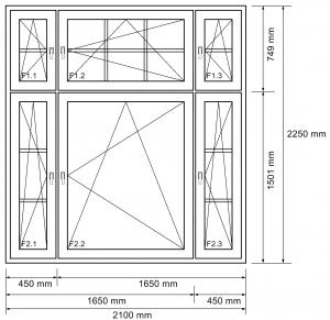 6-flügeliges Fenster mit Sprossen
